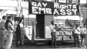 Decriminalisation campaigners, including Lex Watson, at the Gay Rights Embassy opposite then Premier Neville Wran's home in 1983 (source: Adrian Short as published in Sydney Morning Herald).