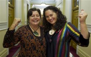 Louisa Wall with partner Prue Katea celebrating passage of the NZ Marriage Amendment Bill