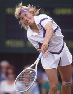 Martina Navratilova, demonstrating the determination that made her one of the greatest players of all time