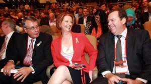 Then Prime Minister celebrates after a conscience vote is approved at ALP National Conference in December 2011, a move that destroyed any chance of marriage equality being passed in the last Parliament, and continues to make passage difficult today.