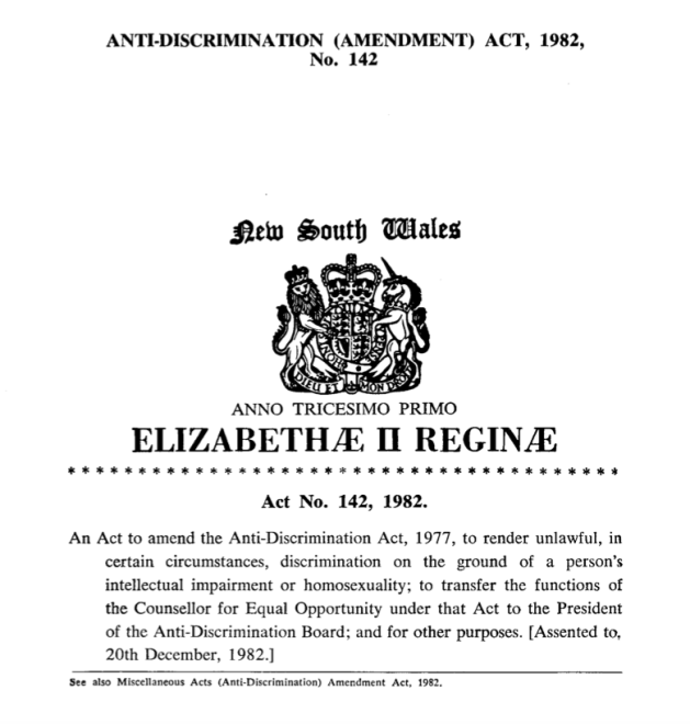 NSW ADA homosexuality 1982